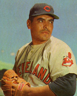 Chief Wahoo - Chief Wahoo appears on the sleeve of pitcher Mike Garcia's uniform, circa 1953.
