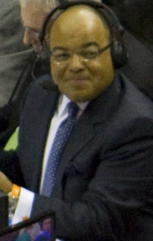 Mike Tirico - Tirico working a San Antonio Spurs–Orlando Magic game for ESPN's NBA Wednesday on March 17, 2010.