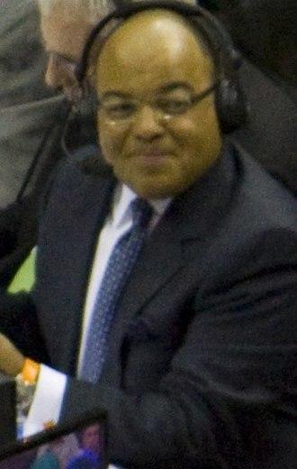 Mike Tirico - Tirico working a San Antonio Spurs–Orlando Magic game for ESPN's NBA Wednesday on March 17, 2010.