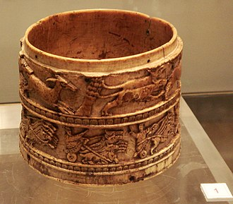 Mediolanum - Arena games: ivory cup depicting staged hunts and chariot races, found in Milan, 4th-5th century.