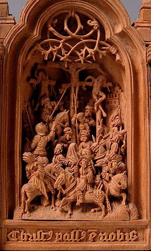 """Gothic boxwood miniature - """"Miniature Altarpiece with the Crucifixion"""", """"Crucifixion"""", early 16th century. Met Cloisters, New York"""