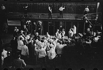 Grain trade - Bidders at the Minneapolis Grain Exchange in 1939