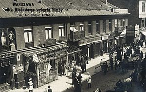 Revolution in the Kingdom of Poland (1905–07) - Miodowa Street in Warsaw, 1906, just after a PPS' bomb explosion.