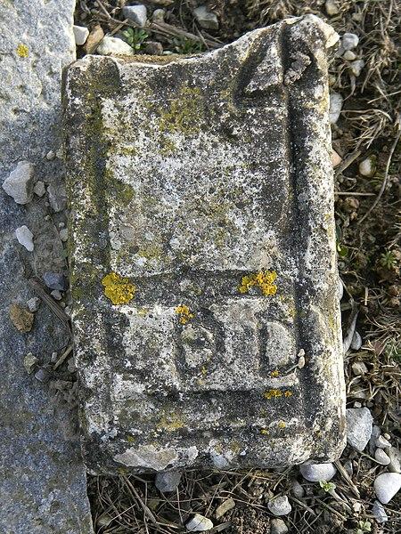 Vieille pierre gravée sur le bord d'un chemin à proximité du prieuré de Poleteins, à Mionnay; on peut y lire: LDD.