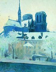 Vista de l'absis de Nôtre Dame de París, sota la neu