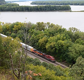 Savanna, Illinois - Mississippi River view from Mississippi Palisades State Park near Savanna Illinois.  Railroad freight train in the scene.  BNSF line