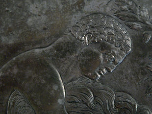 Hercules and the Nemean Lion (detail), silver plate, 6th century BC (Cabinet des Médailles, Paris).