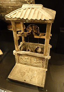 a chinese ceramic model of a water well with a water pulley system,  excavated from a tomb of the han dynasty (202 bc – 220 ad) period