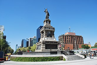 Monument to Cuauhtémoc - The completel monument in its current location as seen from the East. The name Cuitláhuac is visible on the inscription - Cuauhtémoc's cousin and predecessor as Tlatoani of Tenochtitlan (2011)