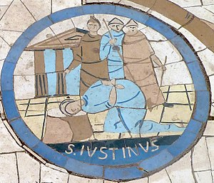 Justin Martyr - Mosaic of the beheading of Justin Martyr.