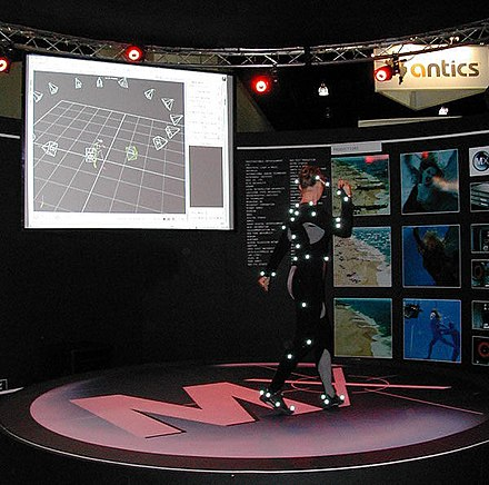 A dancer wearing a suit used in an optical motion capture system MotionCapture.jpg