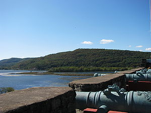 Mount Defiance (New York) - Mount Defiance from Fort Ticonderoga. The LaChute River, leading to Lake George, is at right; the southernmost reaches of Lake Champlain at left