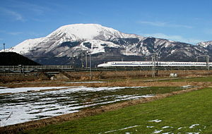 Maibara, Shiga - The Shinkansen streaks past Mt. Ibuki before reaching Maibara Station.