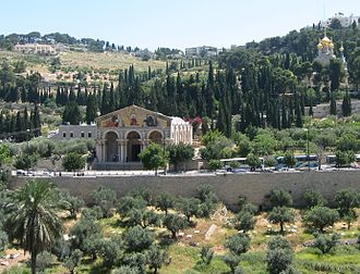 Route 417 (Israel) - Jericho Road in the Kidron Valley, traditional site of Gethsemane with Church of All Nations (center) and Church of Maria Magdalene (upper right)