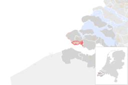 Locatie van de gemeente Vlissingen (gemeentegrenzen CBS 2016)