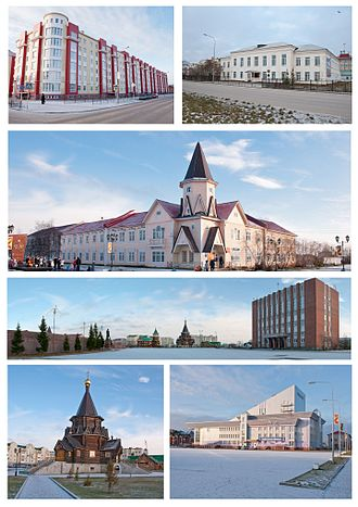 Naryan-Mar - Top left: Nenets Autonomous Federal Hall; top right; Zapolyarnaya Stolitsa Avenue; second from the top: Naryan-Mar post office; second from the bottom: Town Administration building; bottom left: a church in Naryan-Mar; bottom right: culture center