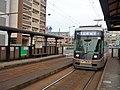 Nagasaki Electric Tramway 3003 at Daigaku-Byoin-mae Station.jpg