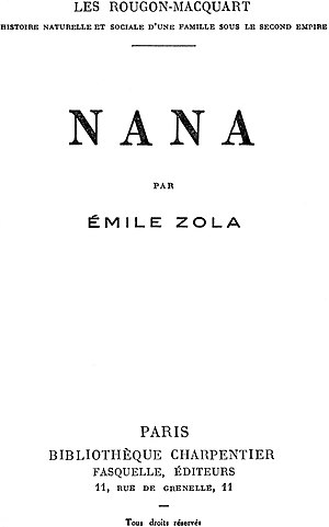 Nana (novel) - Nana Title Page of the original French Edition