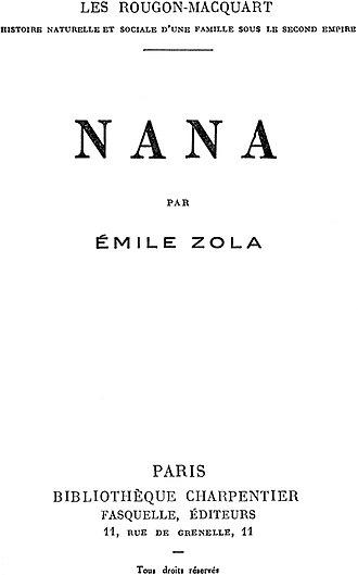 Nana (novel) - Nana Title Page of the original French Edition