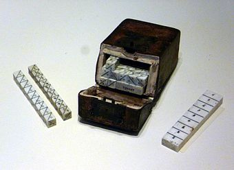 An ivory set of Napier's Bones, an early calculating device invented by John Napier Napier's Bones.JPG