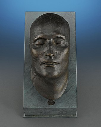 Bronze death mask of Napoleon I, modelled in 1821, cast in 1833 Napoleon Death Mask.jpg
