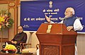 Narendra Modi addressing at the release of the commemorative coins on Dr. B.R. Ambedkar, in New Delhi. The Union Minister for Finance, Corporate Affairs and Information & Broadcasting, Shri Arun Jaitley is also seen.jpg