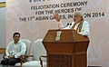 Narendra Modi delivering his address at the Felicitation Ceremony of medal winners of the 17th Asian Games, Incheon 2014, in New Delhi. The Minister of State for Skill Development, Entrepreneurship (1).jpg