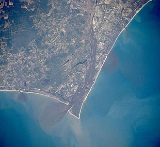 Cape Fear (headland) - Cape Fear in a NASA satellite photo, showing the estuary of the Cape Fear River
