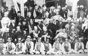 Walter Egerton - A commemorative group photograph taken at the 2nd Durbar held on 20 July 1903. sitting from left to right: William Treacher (resident-general), Sultan Alaiddin Sulaiman of Selangor, Sultan Idris of Perak, Sir Frank Swettenham (governor), Sultan Ahmad Maatham of Pahang, Tuanku Muhammad (Yang di-Pertuan Besar of Negeri Sembilan), Walter Egerton (resident-general of Negeri Sembilan)