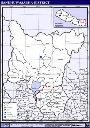 Sankhuwasabha District - Map of the VDCs in Sankhuwasabha District