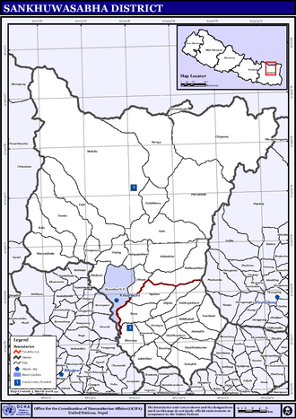 Sankhuwasabha District - Map of the VDCs in Sankhuwasabha District