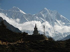 Nepal - Sagamartha Trek - 057 - chorten silhouetted by Lhotse & Everest.jpg