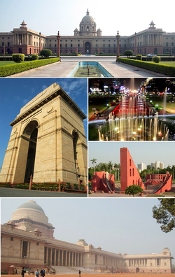 Clockwise from top left: Secretariat Building, Connaught Place, Jantar Mantar, Rashtrapati Bhavan, باب ہند
