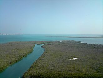 Benito Juárez Municipality, Quintana Roo - Aerial view of the Nichupte Lagoon
