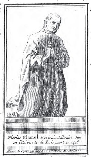 Nicolas Flamel - Flamel as represented in 1402 on the portal of Sainte-Geneviève des Ardens (From Étienne François Villain, 1761)