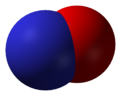 Space-filling model of nitric oxide