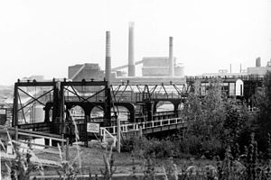 Northwich - The former ICI Winnington Works seen from the Anderton Boat Lift in 1992