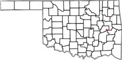 Location of Eufaula shown in Oklahoma