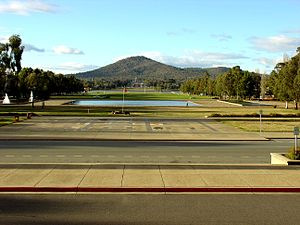 Old Parliament House, Canberra - View to Mount Ainslie from the front steps. The Australian War Memorial is at the base of the mountain, at centre of picture