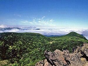 Mount Oakan - View from the Siberian Dwarf Pine zone on Mount Oakan, looking toward Mount Meakan. (July 2008)
