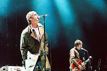 Liam and Noel Gallagher of Oasis performing in...