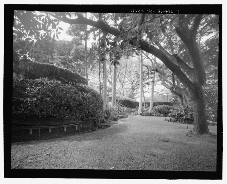 File:Oblique view showing rounded forms of gun chambers and walls of terrace above covered with vines - U.S. Naval Base, Pearl Harbor, Battery Adair, Princeton Place, Pearl City, Honolulu HABS HI-432-1.tif