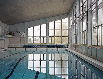 Pripyat - The Azure Swimming Pool was still in use by liquidators in 1996, a decade after the Chernobyl incident.