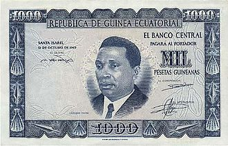 Equatoguinean Spanish - 1000 Equatoguinean pesetas banknote from 1969