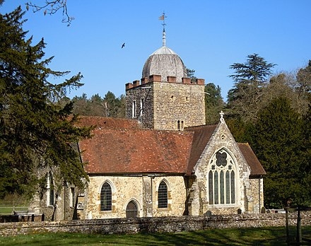 Old St Peter and St Paul's Church, Albury, Surrey, where William Oughtred was rector from 1610 to 1660, and where he is buried. Old St Peter and St Paul's Church, Albury Park, Albury (March 2014, from Southwest) (2).JPG