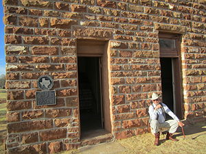 Motley County, Texas - Work is proceeding in 2011 on the restoration of the old Matador jail. Pictured is former Motley County Judge Ed D. Smith.