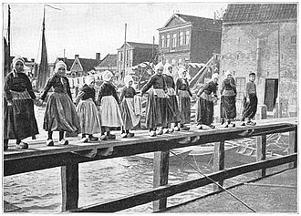 Volendam - Little girls of Volendam in traditional costumes, 1906.