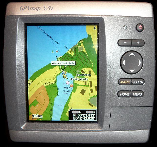 File:OpenSeaMap auf Garmin-Kartenplotter GPSmap526 Screen 1.jpg