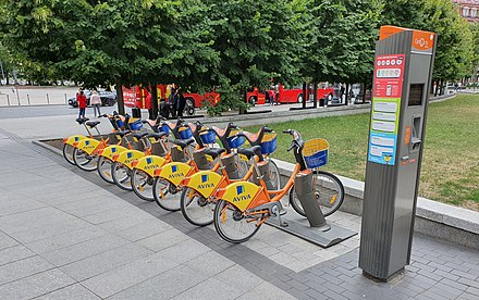 Orange bikes, available for renting Orange bikes in Vilnius (2019).jpg