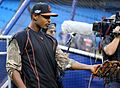 Orioles outfielder Adam Jones plays catch before the AL Wild Card Game. (30136272326).jpg